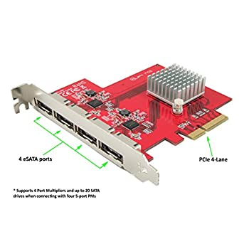 Image of Ableconn PEX-SA134 4-Port eSATA III 6Gbps PCI Express Four Lanes Host Adapter Card - AHCI Port-Multiplier PCIe 2.0 x4 Controller Card