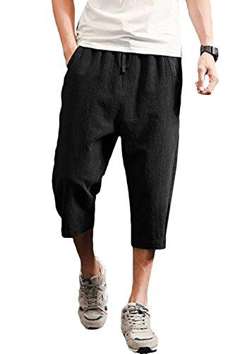 "sandbank Men's Drawstring Shorts Loose Summer Linen Harem Capri Yoga Pants (Black, Waistline:31""-32"" US S) (Capri Drawstring Shorts)"