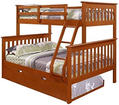 Donco Kids 122-3-TFE_503E Mission Bunk Bed withTrundle Twin/Full/Twin Light Espresso