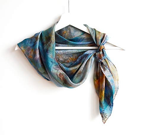 Shibori Square Silk Scarf for Women hand painted in Blue Brown Orange