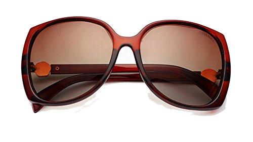 (YL Women's Polarized oversized sunglasses with rose decorated sunglasses UV400 -tea rame)