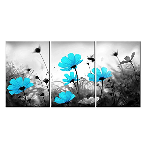sechars - 3 Piece Wall Art Set Black White Teal Flower Picture Canvas Print Still Life Floral Print for Modern Home Living Room Apartment Decor Framed Artwork Ready to Hang (16