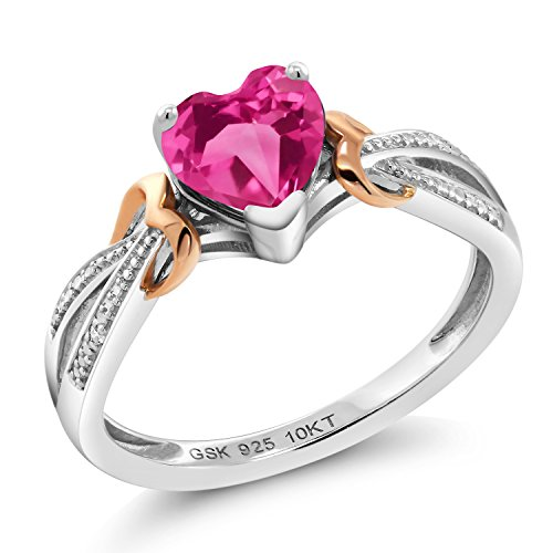 Gem Stone King 925 Silver & 10K Rose Gold Diamond Ring 0.81 Ct Heart Pink Created Sapphire (Size 7)