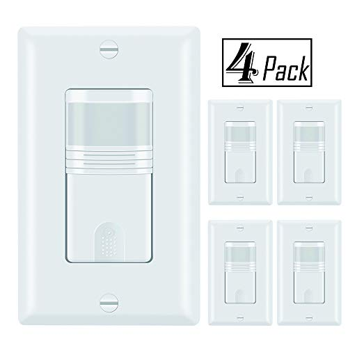 (ECOELER Motion Sensor Light Switch, Vacancy & Occupancy Modes In Wall Sensor Switch, Single Pole, NEUTRAL WIRE REQUIRED, Adjustable Timer, Wall Plate Included, UL FCC TITLE24 Approved 4Pack)