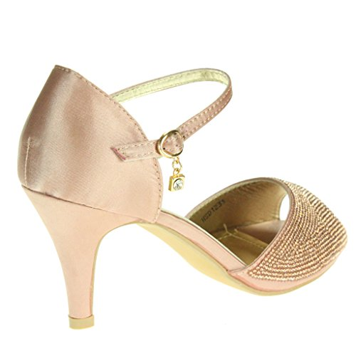 Tamaño tobillo Señoras Sandalias de Paseo Nupcial Rosa alto Toe Boda Diamante Noche Correa Peep Tacón Zapatos Mujer Fiesta Uaqw4YHH
