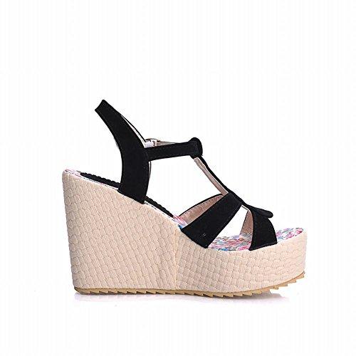 Carol Schoenen Chic Dames Charms Gesp T-bandjes Mode Bloemenpatroon Binnenzool Platform Hoge Hak Wiggen Sandalen Zwart