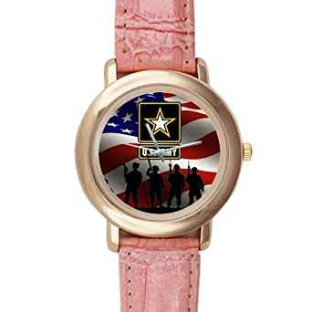 Gifts for girls or ladies military us army soldiers and american flag pink leather for Military grade watches