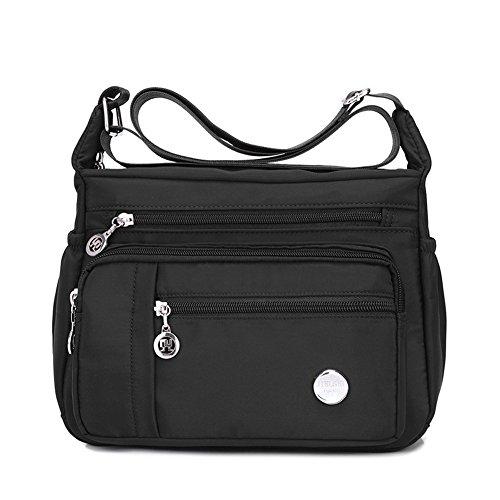 KARRESLY Women's Shoulder Bags Travel Handbag Messenger Cross Body Nylon Bags with Lots of Pockets(Black-S)