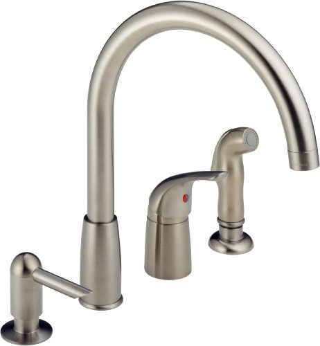 Peerless P188900LF-SSSD Apex Single Handle Widespread Kitchen Waterfall with Soap Dispenser, Stainless