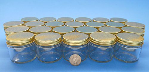 2 Oz. Straight-Sided Jars with Metal Plastisol Lids (24, Gold)
