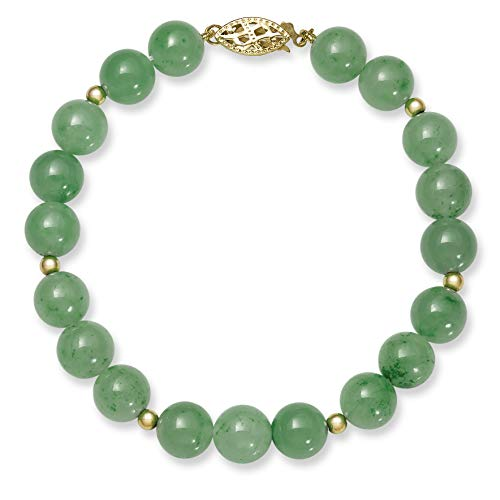 14k Gold Natural Green Jade Bead Bracelet, ()