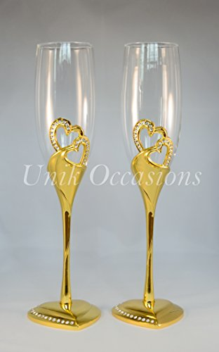 Unik Occasions Stunning Wedding Toasting Flutes/Champagne Glasses - Groom Design Toasting Flutes