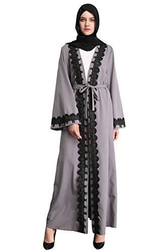 YI HENG MEI Women's Elegant Long Sleeve Muslim Islamic Maxi Open Front with Floral Border, Gray, M by YI HENG MEI