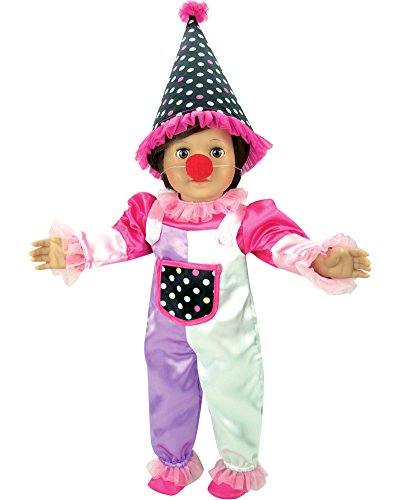 [18 Inch Doll Costume, 5 Piece Doll Clown Set with Hat Nose, Jumper, Blouse and Shoes by Sophia's] (Doll Outfits Halloween)