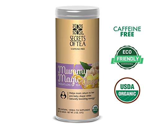 Mummy Magic Weight Loss Organic Ginger Tea, Postpartum Energy Tea, 20 unbleached tea bags, Up to 40 servings, Naturally Increase Metabolism & Maintain Healthy Energy Levels, Improve Digestion
