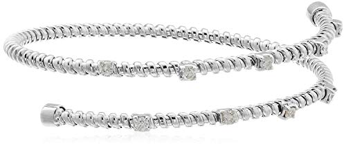 - 14k White Gold Two Row Diamond Bangle Bracelet (1/2cttw, I-J Color, I1 Clarity)