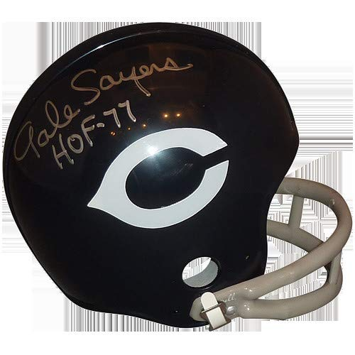 hed Signed Auto Chicago Bears Throwback 2-bar Mini Helmet HOF 77 JSA - Certified Authentic ()