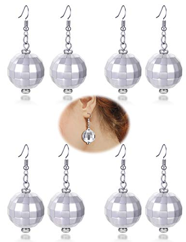 FUTTMI 4 Pairs of Disco Ball Dangle Earrings for Women Girls 60's 70's Silver Halloween Mirror Ball Costume -