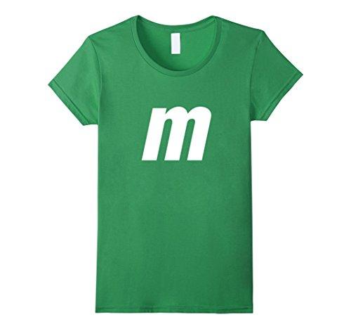 Womens M Letter Halloween Candy Costume T-shirt Medium (M&m Green Costume)