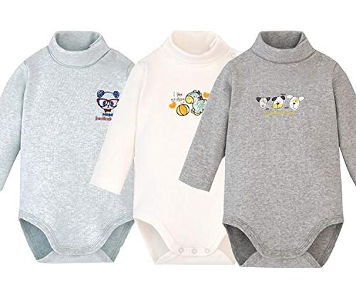 Baby Boys Long Sleeved Cardigan - Infant Baby Boys Girls Long Sleeves Thermal Onesies Turtle-Neck Bodysuit Fall Winter Cloths Outfit (3-Pack Grey, 12-18 Months)