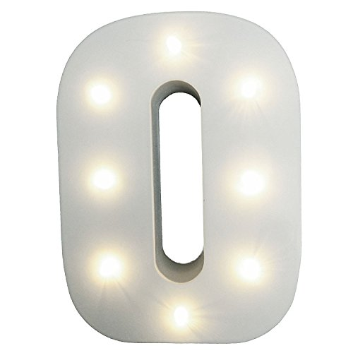 Decorative Light Up Wooden Number Letters,WONFAST Marquee Warm White LED Number Lights Sign Party Wedding Decor Battery Operated Number (0) by WONFAST