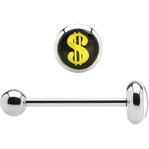 Body Candy 316L Stainless Steel Yellow Dollar Sign Barbell Tongue Ring