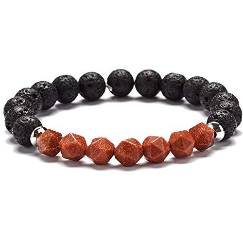 - Zozu Natural Stone Beaded Bracelets Women Men Stainless Steel Amazonite Amethysts Agates Tiger Eye Quartz Crystal Stone Bracelets (goldstone)