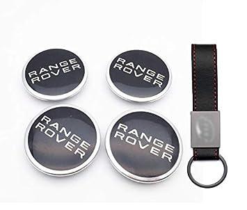 Set 4X Tapacubos 63MM Negro para Range Rover Evoque Sport Logo Emblema Tapas para Llantas de Aleación (+ Llavero de Cuero): Amazon.es: Coche y moto