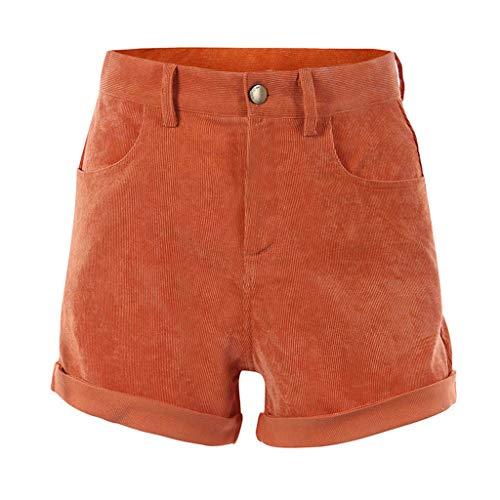 (wodceeke Women Summer Casual Solid Sexy High Waist Slim Corduroy Short Pocket Shorts Pants (L, Red))