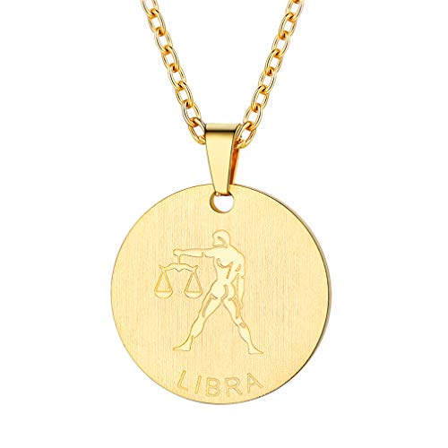 - FaithHeart Customizable Astrology 12 Constellation Horoscope Necklace, 18K Gold Plated Libra Zodiac Star Sign Coin Pendant Necklace Birthday Gifts Lucky Charms Layered Necklace (Gold)