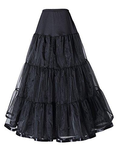 Long Wedding Gown Slip A-line Full Petticoat, Black,US. L / XL