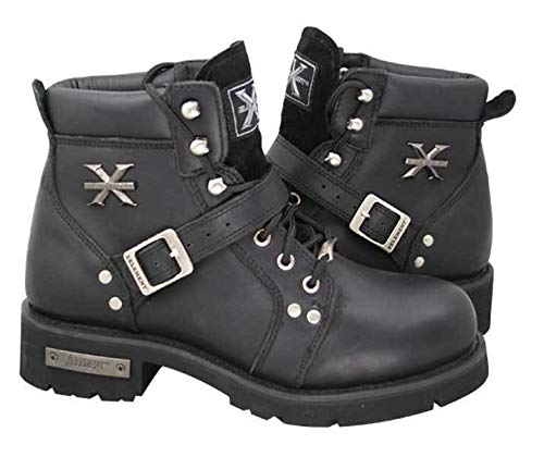 Xelement 2469 Women's Black Advanced Lace Up Motorcycle Biker Boots - 9.5