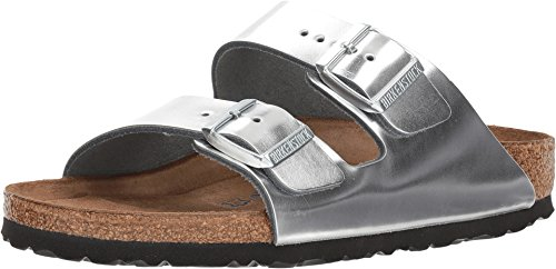 Silver Unisex Strap - Birkenstock Arizona Soft Footbed Metallic Silver Leather Unisex Sandals 41 (US Women's 10-10.5)