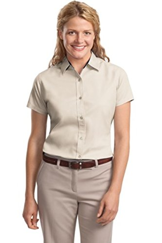 Port Authority Ladies Short Sleeve Easy Care Shirt>S Light Stone/Classic Navy