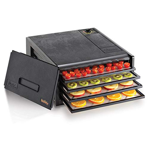 Excalibur 2400 4-Tray Electric Food Dehydrator with Adjustable Thermostat Accurate Temperature Control Faster and Efficient Drying Includes Guide to Dehydration Made in USA, 4-Tray, Black (Sun Food Dehydrator)