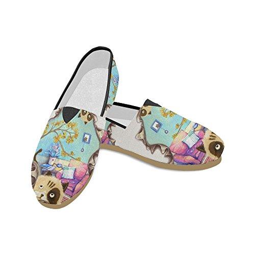 D-story Fashion Sneakers Flats Motorbike Y Usa Flag Zapatos De Lona Antideslizantes Clásicos Para Mujer Mocasines Gatos Traviesos