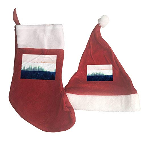 Netherlands Flag with Forest Santa Hat & Christmas Stocking Holiday Christmas Decorations Party Accessory
