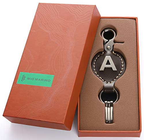 Brown Leather Alphabet Keychain, Single Letter with Easy Clasp Key - by Marino Ave - M - onesize