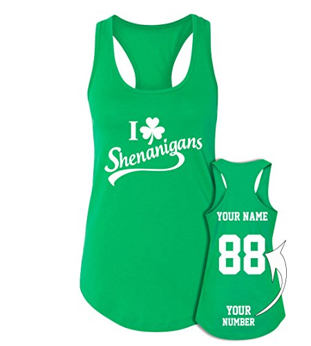 Womens Customized Replica Home Jersey - Custom Jerseys St Patrick's Day Tank Tops - Saint Pattys Irish Outfits