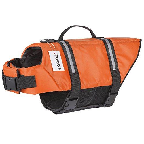 Prumya Dog Life Jacket Pet Life Vest Saver Swimming Boating Dog Floatation Life Preserver Coat Safety Reflective Swimwear Head Support Size Adjustable (S, Upgraded-Orange) from Prumya