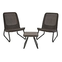 Garden and Outdoor Keter Resin Wicker Patio Furniture Set with Side Table and Outdoor Chairs, Whiskey Brown outdoor lounge furniture