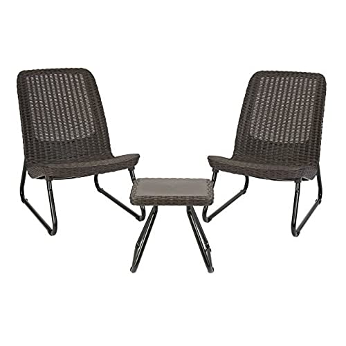 Keter Rio 3 Pc All Weather Outdoor Patio Garden Conversation Chair U0026 Table  Set Furniture, Brown