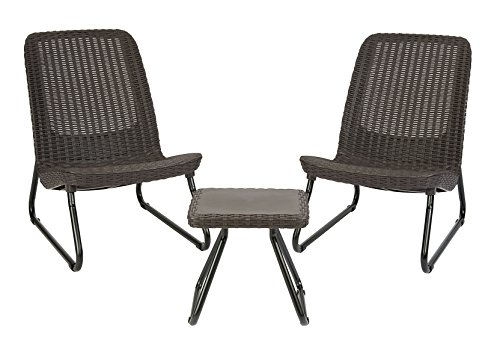 Keter Rio 3 Piece Resin Wicker Furniture Set with Patio Table and Outdoor Chairs, Whiskey Brown (Wicker Resin Chairs)