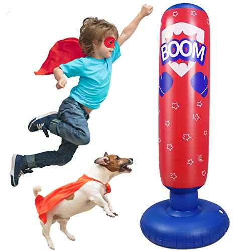 AuGcGoGo Inflatable Punching Bag- 52 Inch Standing Boxing Bag for Kids,Free Standing Boxing Toy for Kids