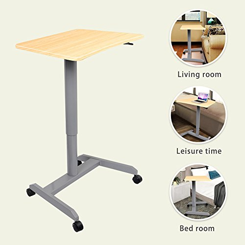 Standing Desk, Multipurpose and Height Adjustable Computer Desk for Home, Office (Light Wood) by Amoiu (Image #7)
