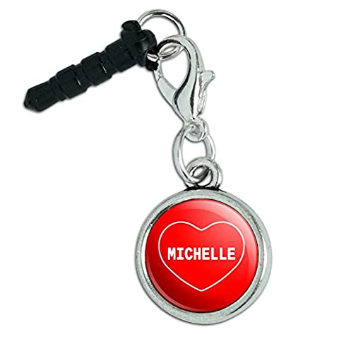Mobile Cell Phone Jack Anti-Dust Charm fits iPhone iPod I Love Heart Name L-M - Michelle - Jack Heart Charm