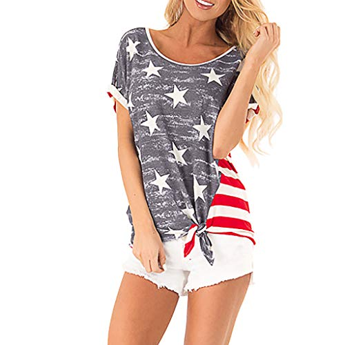 GHrcvdhw Stylish Women's O Neck Independence Day Star
