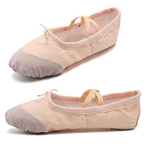 DoGeek Alta Calidad Transpirable Zapatos de Ballet Zapatillas de Ballet de Danza Baile Para Niña Rosa 2