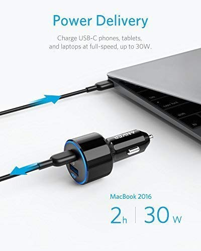 Anker USB C Car Charger, PowerDrive Speed+2 PD with 1 PD and 1 PIQ, with Power Delivery for MacBook, Pixel, iPhone X/8/8 Plus, and PowerIQ 2.0 Fast Charge for Samsung S9/S8/S8+, Galaxy Series and More