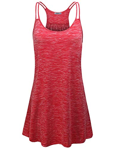 MOQIVGI Summer Dresses for Women,Classy Casual Double Spaghetti Strap Racerback Sexy Womanly Curves Sun Dress Juniros Gym Sportwear Running Jogging Long Camisole Tunic Tops Marled Red Medium